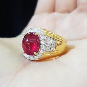 9040027 แหวนทับทิมชายประดับเพชร