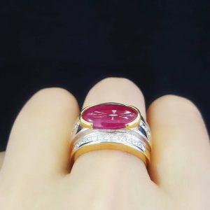 9080052 แหวนทับทิบทิมพม่าเนื้อแก้วมีใบเซอร์ LAB GEM