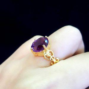 9110013 แหวนอเมทิสย์ก้านแกะลายสวยงามอเมทิสย์สีสวยโดดเด่น
