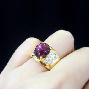 9110031 แหวนทับทิมสตาร์ทรงปอกมีดงานสวยหรู
