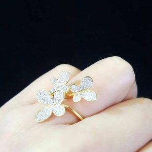 912004 แหวนเพชรผีเสื้อสามตัวงานน่ารักมากๆ