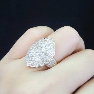 10010019 แหวนเพชรทรงหลังเต่าฝังเพชรเม็ดโตงานสวยวิ้ง ๆ