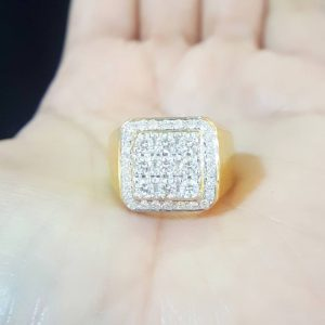 10020029 แหวนเพชรชายหน้ากว้าทรงสี่เหลี่ยม
