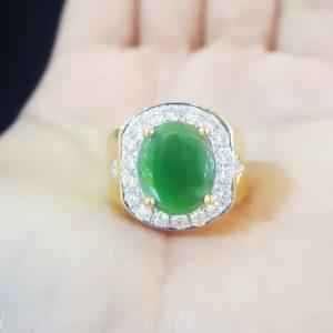 10020027 แหวนหยกพม่าล้อมเพชร หยกพม่ามีใบ CER LEB GEM