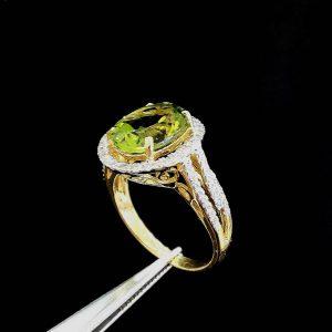 10030026 แหวนเพอริดอกล้อมเพชรสีสวยมากค่ะ