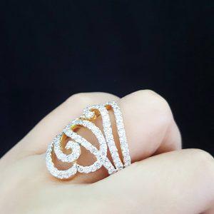 1007008 แหวนเพชรดีไซร์หรูหราทันสมัย เล่นไฟสวยมาก